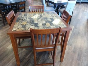 FAUX MARBLE TOP DINING TABLE AND FOUR CHAIRS for Sale in McKinney, TX