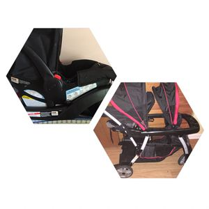 Greco double stroller and car seat with 2 bases for Sale in Pembroke Pines, FL