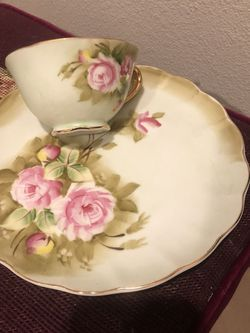 4 Lefton Heritage Rose China Set Cups And Plates for Sale in Easton,  WA