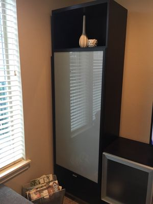 Ikea Besta black/brown wood and frosted glass tall storage shelves for Sale in Portland, OR