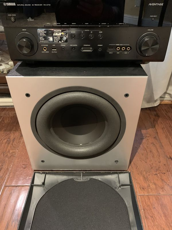 "Polk Audio PSW505 12"" Powered Subwoofer and Yamaha Recever"