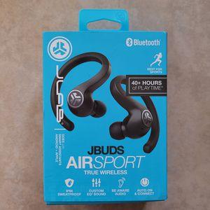 JLab Audio JBuds Air Sport True Wireless Bluetooth Earbuds + Charging Case - Black for Sale in San Jose, CA