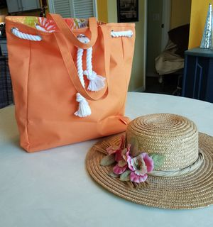New Nordstrom Beach Tote Bag and Straw Sun Hat for Sale in NEW PRT RCHY, FL