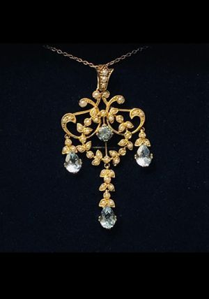 Stauer Blue Topaz & Seed Pearl Pendant Necklace for Sale in Puyallup, WA