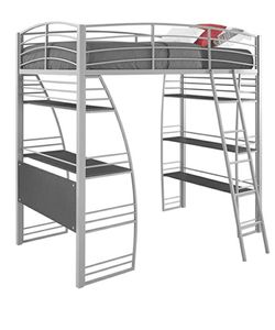 DHP Studio Loft Bunk Bed Over Desk and Bookcase with Metal Frame - Twin for Sale in Pataskala,  OH