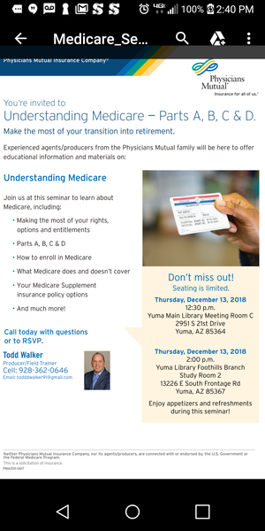 Medicare 101. Free seminar to understand the parts of Medicare for Sale in Yuma, AZ
