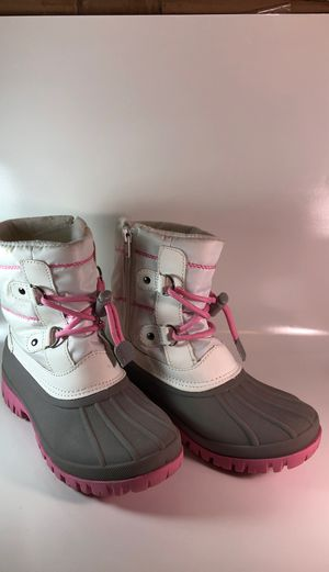 Cat and Jack Girls Snow Winter Boots Thermolite Warm Soft Pink White Size 2 Kids for Sale in Accokeek, MD