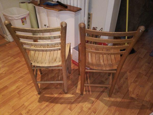 Mid Century Modern Wooden Slat Chairs - Pair