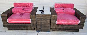 Bronze Virofiber Outdoor Wicker Club Chair Set Tete Tete Patio Furniture for Sale in Las Vegas, NV