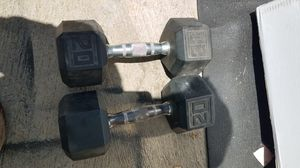 2x20lb rubber hex dumbbell for Sale in Montebello, CA