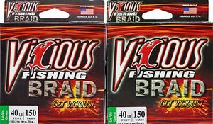 2 Vicious Braid fishing Line 150 Yd Lo-Vis Moss Green 40 Pound for baitcaster baitcast fishing reel for Sale in Litchfield Park, AZ