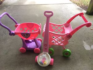 Two pink carts & popper for Sale in Chantilly, VA