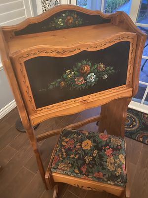 Hand-Painted Desk & Stool for Sale in Fontana, CA