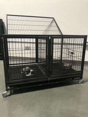 Heavy duty Large dog pet kennel cage crate stackable with removable divider and casters brand new in original factory sealed box👍🏻 for Sale in Las Vegas, NV