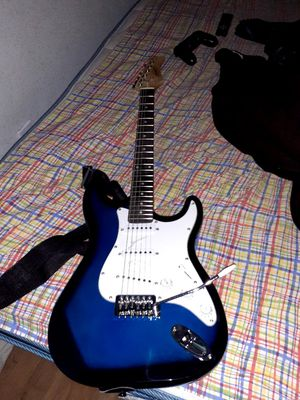 Zeny blue and black electric guitar for Sale in Dale, TX