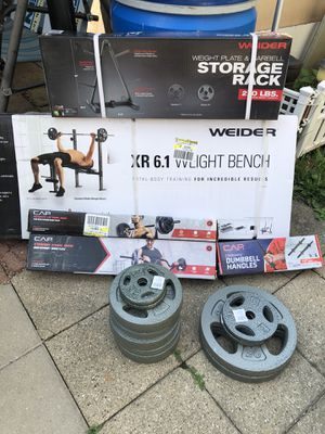 Weider Bench Bar Weights COMPLETE SET DELIVERY AVAILABLE!* for Sale in Chicago, IL