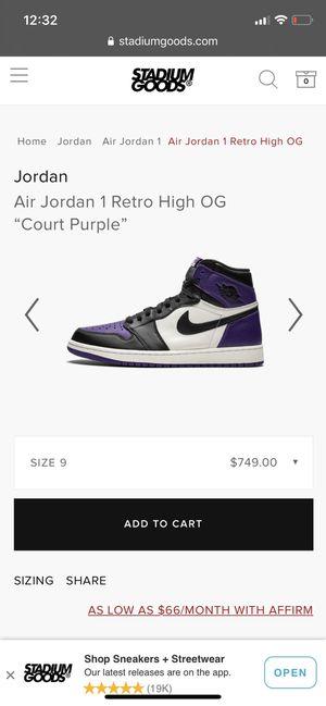 Air Jordan 1 High OG - Court Purple Size 9 for Sale in Anaheim, CA