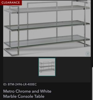 New Metro chrome and white marble console table for Sale in San Diego, CA