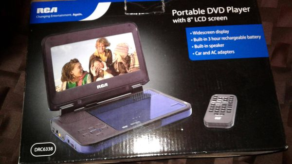 RCA portable DVD player; brand new travel car AC adapter
