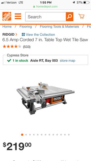 Ridgid table top tile saw for Sale in Downey, CA