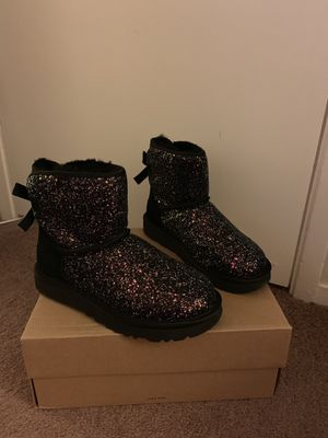100% Authentic Brand New in Box UGG Classic Mini Bailey Bow Cosmos Boots / Color Black / Women size 6, 7, 8 for Sale in Walnut Creek, CA