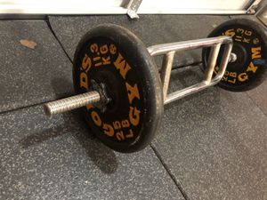 Triceps Bar & Weights (2) 25 lbs plates for Sale in Santa Clarita, CA