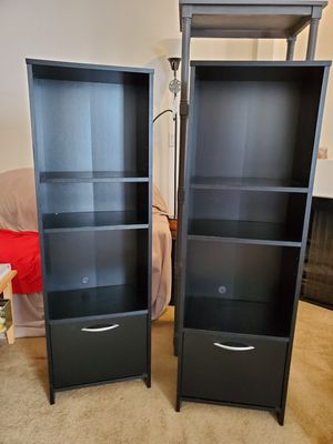 Pair (set of 2) black media consoles/ bookshelf for Sale in West Los Angeles, CA