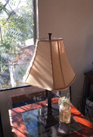 Dark Brown Brass Lamp with Champagne Shade for Sale in San Diego, CA