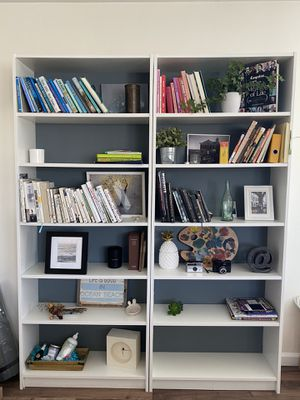 2 White ikea bookshelves with grey-blue back for Sale in San Diego, CA