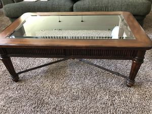 2 wood, glass and rod iron tables for Sale in Fresno, CA