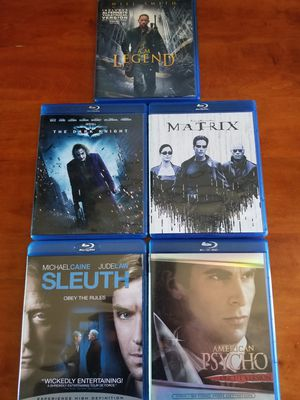 Blu-ray movies Batman Dark Knight I Am Legend Matrix American Psycho and sleuth all 5 like new no scratches or fingerprints at all for Sale in Long Beach, CA