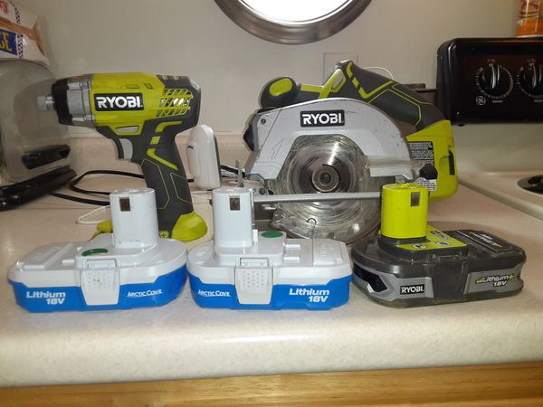 Ryobi battery operated circular saw and battery operated impact driver 3 lithium battery