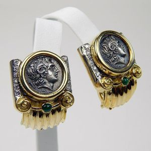 18k Gold diamond emerald tetradrachm coin earrings #10180 for Sale in Queens, NY