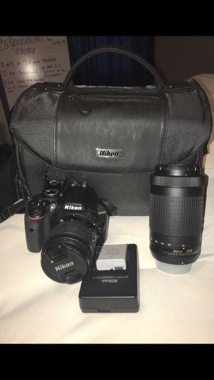 Nikon D3400 DSLR Camera with AF-P DX 18-55mm G VR and 70-300mm G ED Lenses for Sale in Houston, TX