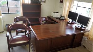 """Solid Wood office furniture, """"L"""" shape Desk , book case, and credenza. Reg price $2500 for Sale in Torrance, CA"""