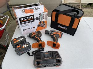 RIDGID 18-Volt Lithium-Ion Cordless Brushless Hammer Drill and Impact Driver 2-Tool Combo Kit for Sale in Houston, TX