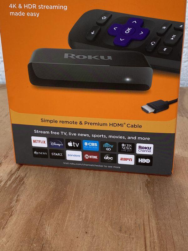 Roku Premiere 3920R 4K HDR 60fps Streaming Player, Black NEW!