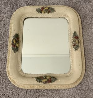 ANTIQUE ORNATE WOODEN DECORATIVE WALL HANGING MIRROR 14x12 for Sale in Chapel Hill, NC