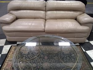 Nice & comfy cream color leather couch for Sale in San Francisco, CA