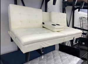 NEW CLEARANCE: Vanilla Faux Leather Sofa Futon with Cupholders for Sale in Houston, TX