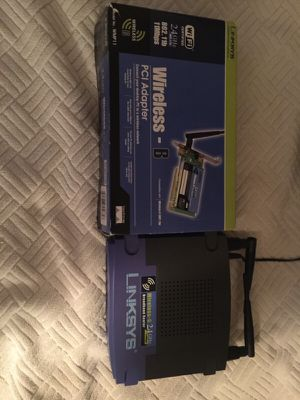 Linksys pair - Wireless G router and PCI card for Sale in Jacksonville, FL