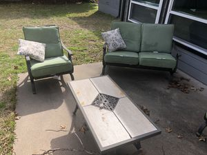 Patio set CHEAP - $150 takes 2 chairs, 1 bench seat, and table for Sale in Fort Worth, TX