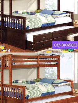 Twin XL/Queen Bunk Bed Item#CM-BK458Q-EXP/CM-BK458Q-OAK for Sale in Santa Ana,  CA