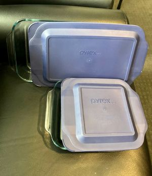 2 Pyrex Glass Baking Cooking Dishes - New with Blue Lids for Sale in Brea, CA