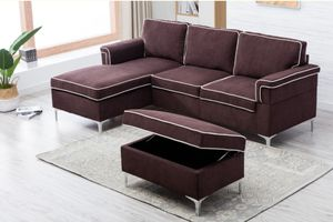 New Chocolate Sectional w/ Ottoman for Sale in Puyallup, WA
