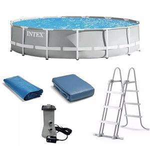 Intex 26723EH 15ft x 42in Prism Frame Above Ground Swimming Pool Set with Filter Pumpkin and Ladder for Sale in Castro Valley, CA