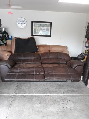 Brown couch with two Brown Electric reclining chairs for Sale in Tracy, CA