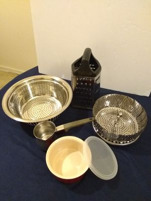 Ramekin with Lid, Strainer, Colander, Grater, Stainless Steel Turkish Coffee Pot, Bread Paddle for Sale in Arlington, VA