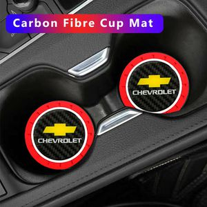 BRAND NEW 2PCS CHEVROLET RED RUBBER CUP COASTER MAT WITH REAL CARBON FIBER EMBLEM for Sale in City of Industry, CA