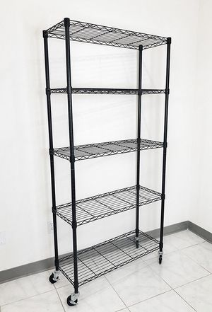 "New in box $70 Metal 5-Shelf Shelving Storage Unit Wire Organizer Rack Adjustable w/ Wheel Casters 36x14x74"" for Sale in Downey, CA"
